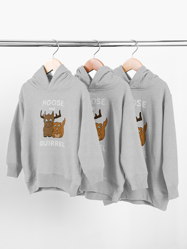 Alternate view of Moose and squirrel with text Toddler Pullover Hoodie