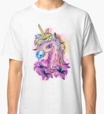 Unicorn, fantasy, magic, magical, rainbow, color, horse, lily, flowers, pony Classic T-Shirt