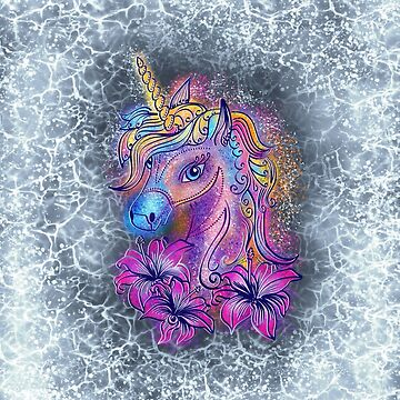 Unicornio, fantasía, magia, mágico, arco iris, color, caballo, lirio, flores, pony de boom-art
