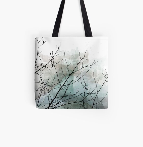 Gray Watercolor & Black Branches All Over Print Tote Bag