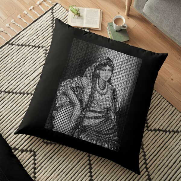 Arab Bedouin Woman in Black and White Floor Pillow