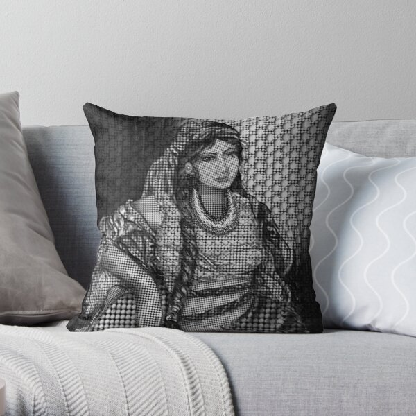Arab Bedouin Woman in Black and White Throw Pillow