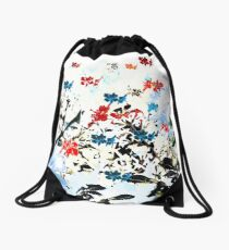 Flying little flowers Drawstring Bag
