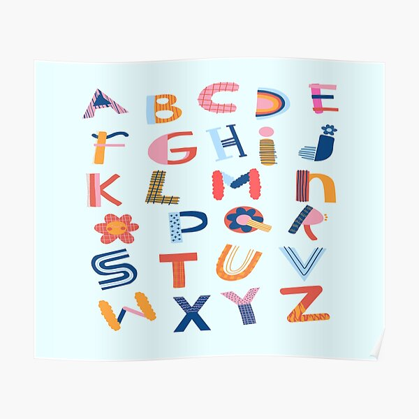 Colorful Alphabet Letters  For Kids Poster