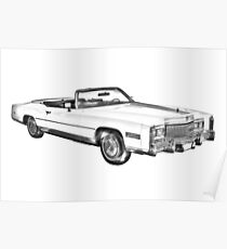 1975 Cadillac Eldorado Convertible Illustration Poster