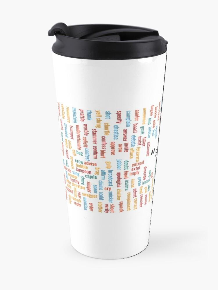 "Alternate view of 300+ synonyms for ""said"" Travel Mug"