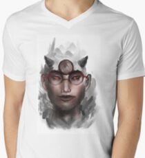 Cute Nerd Guy with a mountain of thoughts, literally Men's V-Neck T-Shirt