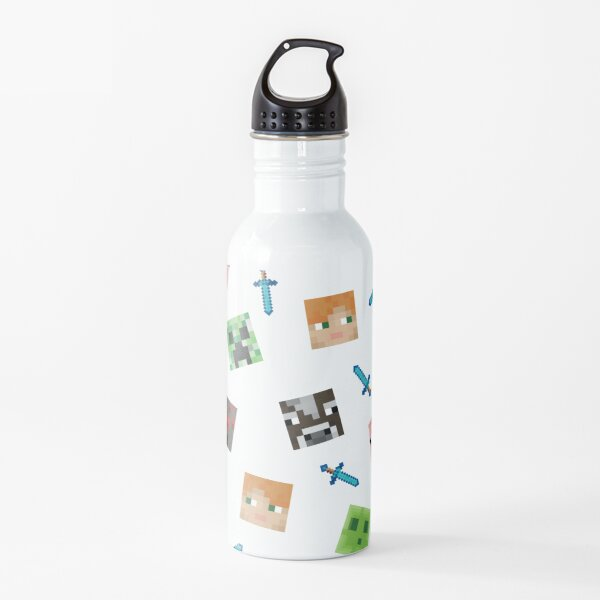 Minecraft Face pattern Water Bottle
