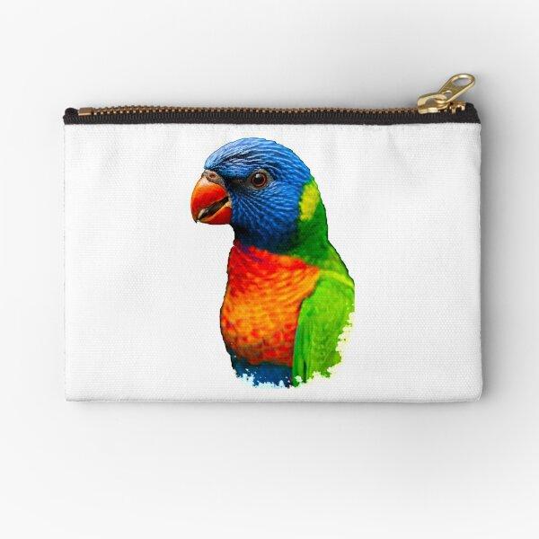 RAINBOW LORIKEET - HD Best Lorikeet Watercolor Art Print Rainbow Lorikeet Bird Zipper Pouch