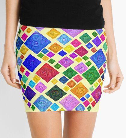 #DeepDream Color Squares Square Visual Areas 5x5K v1448810610 Transparent background Mini Skirt