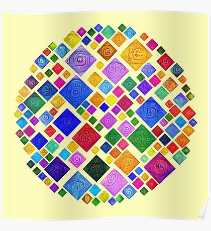 #DeepDream Color Squares Square Visual Areas 5x5K v1448810610 Transparent background Poster