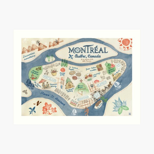 Map of Montreal, Canada Art Print