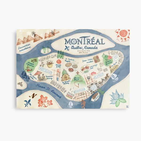 Map of Montreal, Canada Metal Print