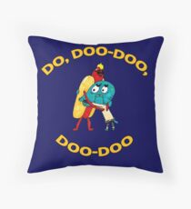 Hot Dog Guy and Gumball Awkwardly Hugging Throw Pillow