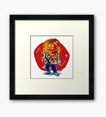 gang squad member pumpkin head with gun Framed Print