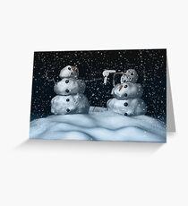 Mean Snowman Grußkarte