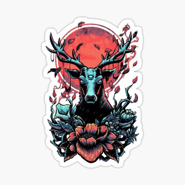 Cursed Deer Tattoo Artwork Sticker