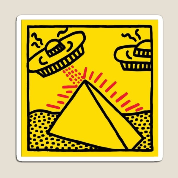 'Pyramid with UFO's' Magnet