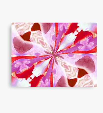 Red and White Tulip Abstract Canvas Print