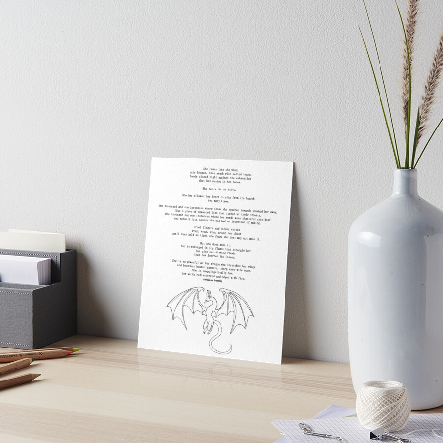 She Is Dragon Poem Art Board Print