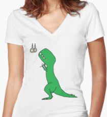 T-Rex Olympic Rings Women's Fitted V-Neck T-Shirt