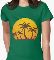 Palm Trees and Sun Womens Fitted T-Shirt