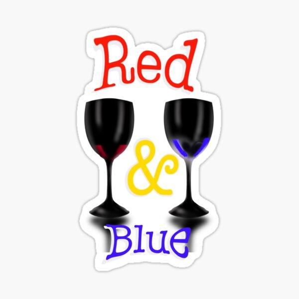 Rot- und Blauwein zur Feier der Unabhängigkeit Sticker