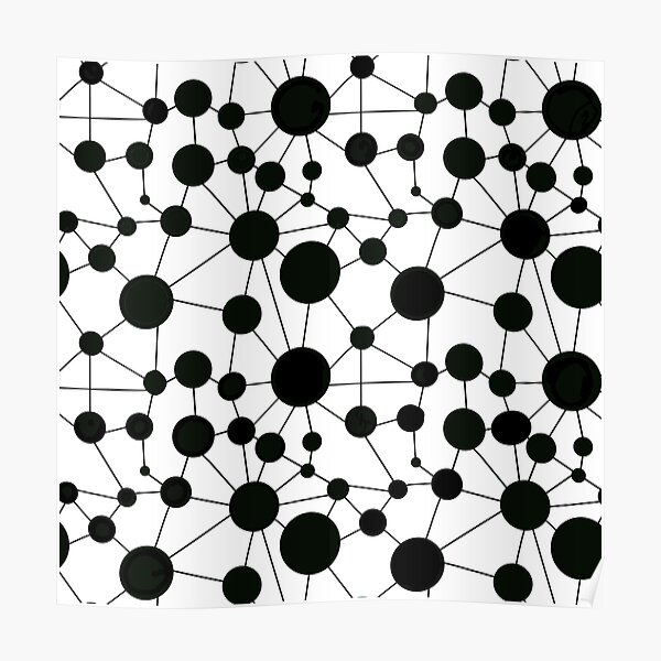 Making Connections Polka Dots and Lines - black and white Poster