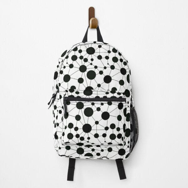 Making Connections Polka Dots and Lines - black and white Backpack
