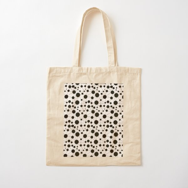 Making Connections Polka Dots and Lines - black and white Cotton Tote Bag
