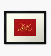 2016 Year of the Monkey Ink Brush on Red Background Framed Print