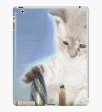 cat plays with gherkin iPad Case/Skin