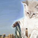 cat plays with gherkin by gigglingnewt