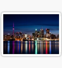 Toronto Skyline At Night From Polson St No 2 Sticker