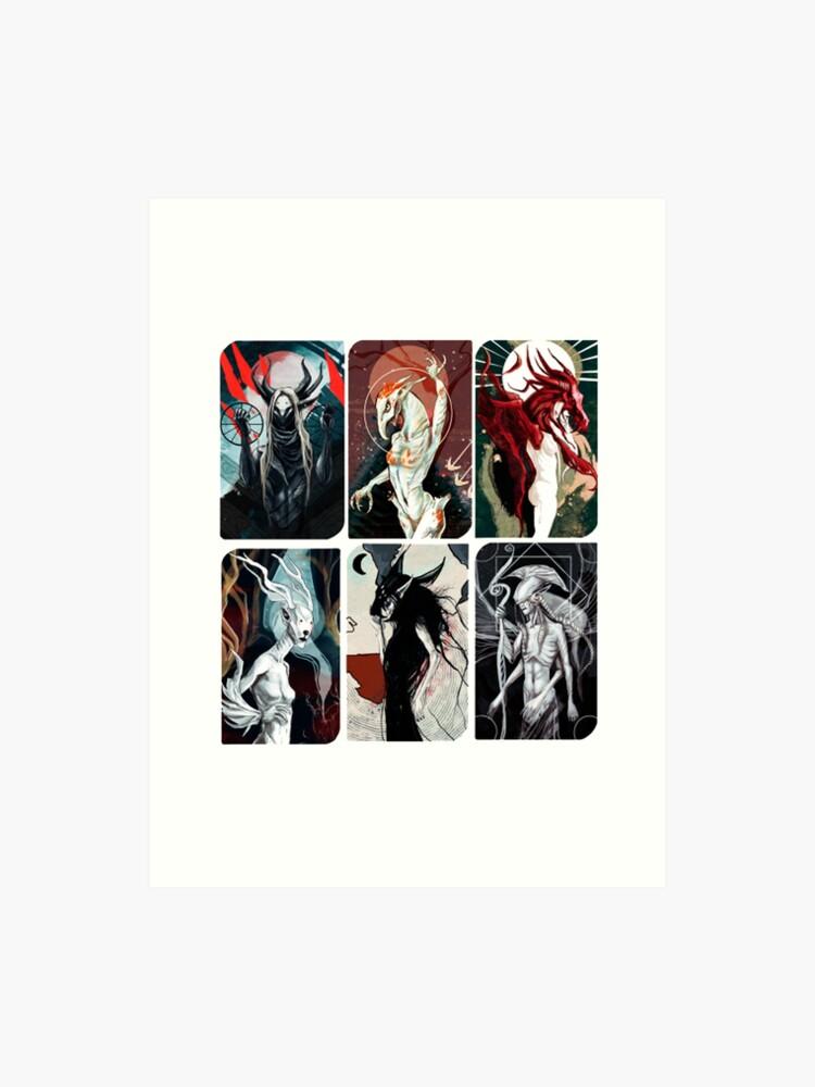 Elven Gods Pantheon Dragon Age Inquisition Tarot Cards   Art Print