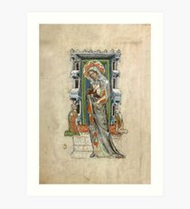Medieval Miniature - Saint Hedwig of Silesia with Duke Ludwig of Legnica and Brieg and Duchess Agnés (1353 AD) Art Print