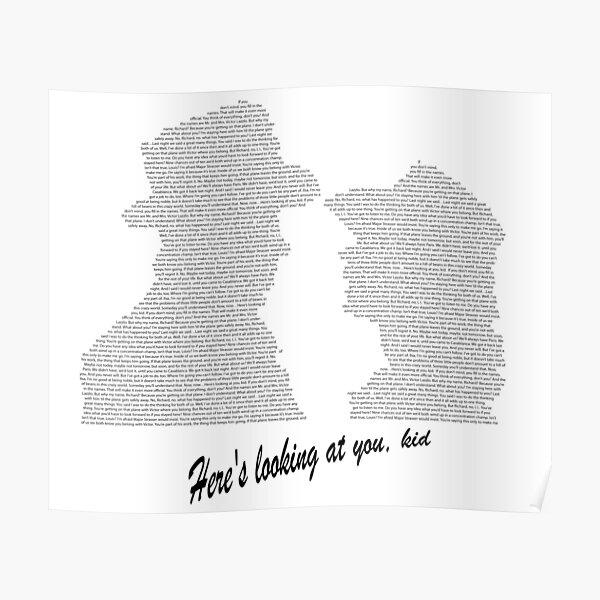 Casablanca Ending Scene Image and Dialogue Poster