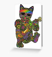 Cool Lucky Black Cat  Greeting Card