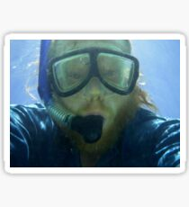 Self portrait, underwater at Ningaloo Reef, WA Sticker