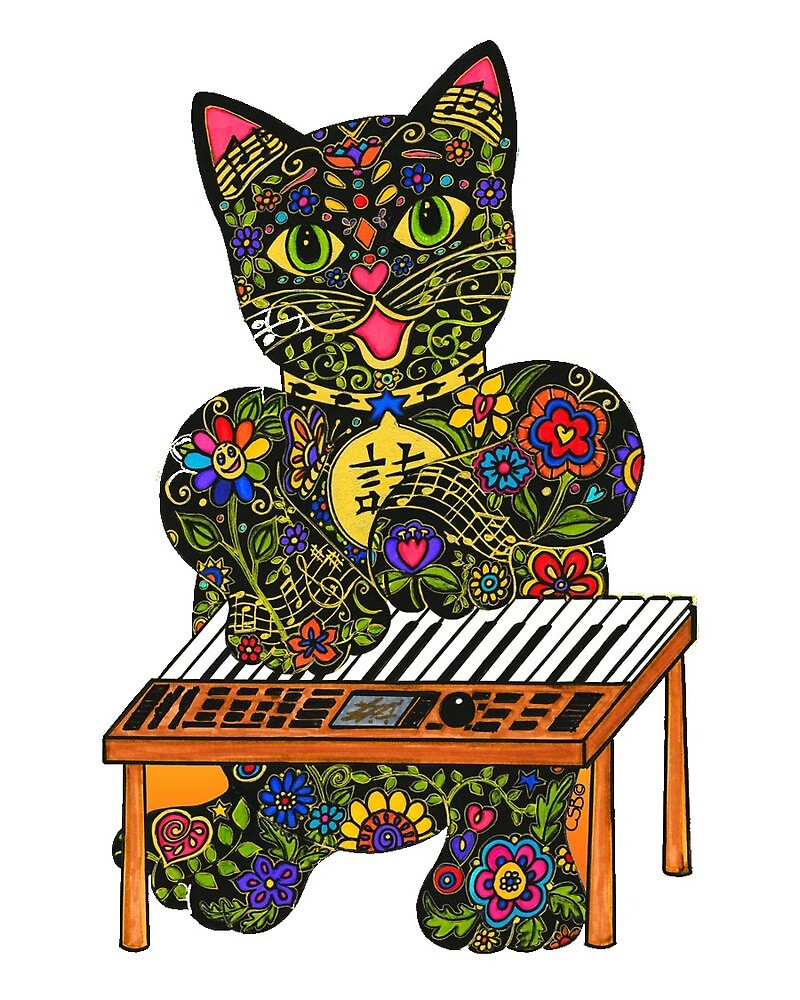 Piano Playing Lucky Black Cat  by ArtHarmony