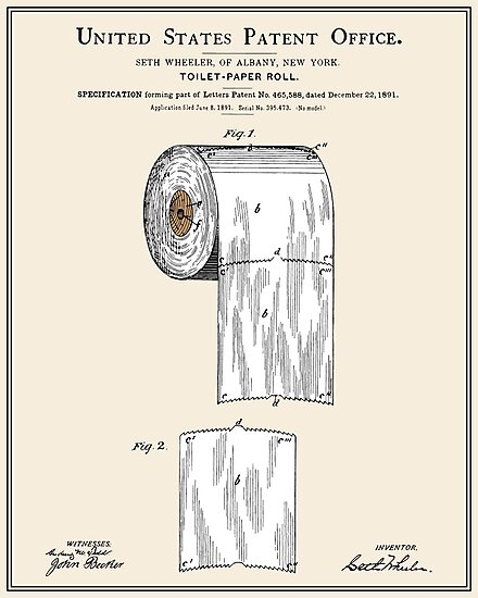 Toilet Paper Roll Patent - Colour by FinlayMcNevin