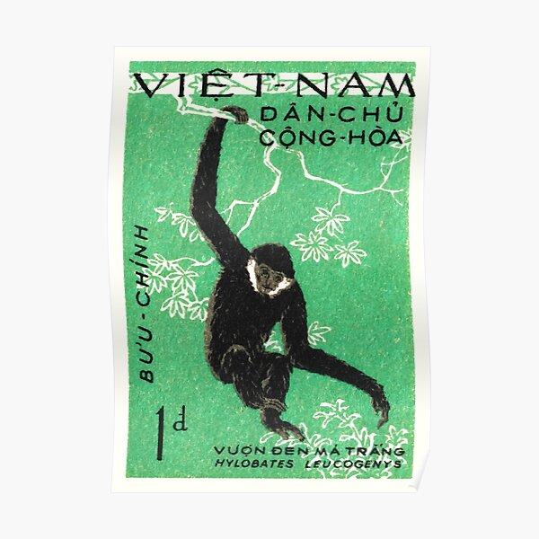 1961 Vietnam Gibbon Postage Stamp Poster