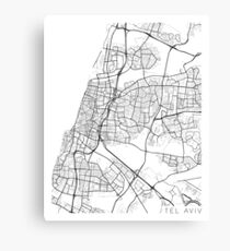 Tel Aviv Map, Israel - Black and White Canvas Print