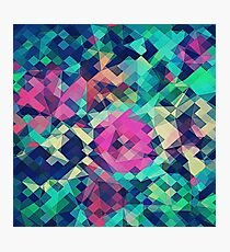 Fruity Rose - Fancy Colorful Abstraction Pattern Design (green pink blue) Photographic Print