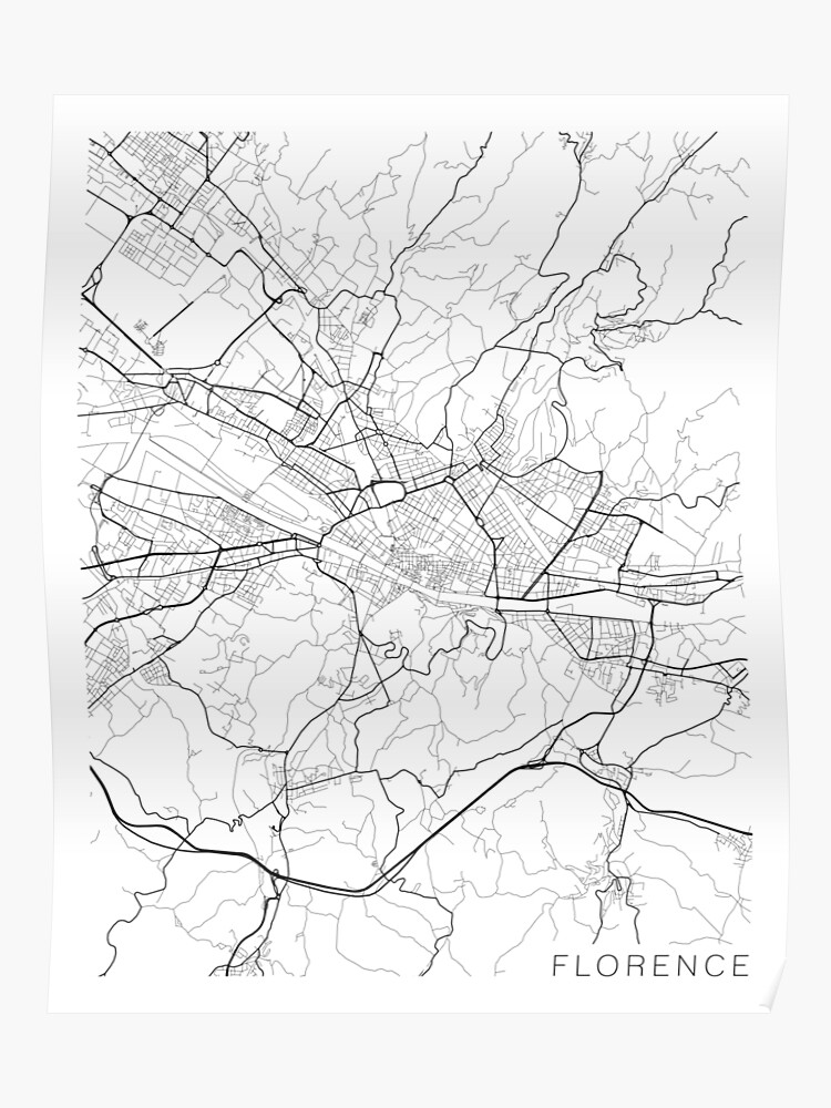 Black And White Map Of Italy.Florence Map Italy Black And White Poster