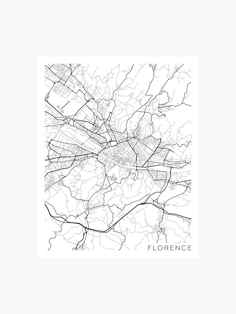Map Of Italy Black And White.Florence Map Italy Black And White Photographic Print