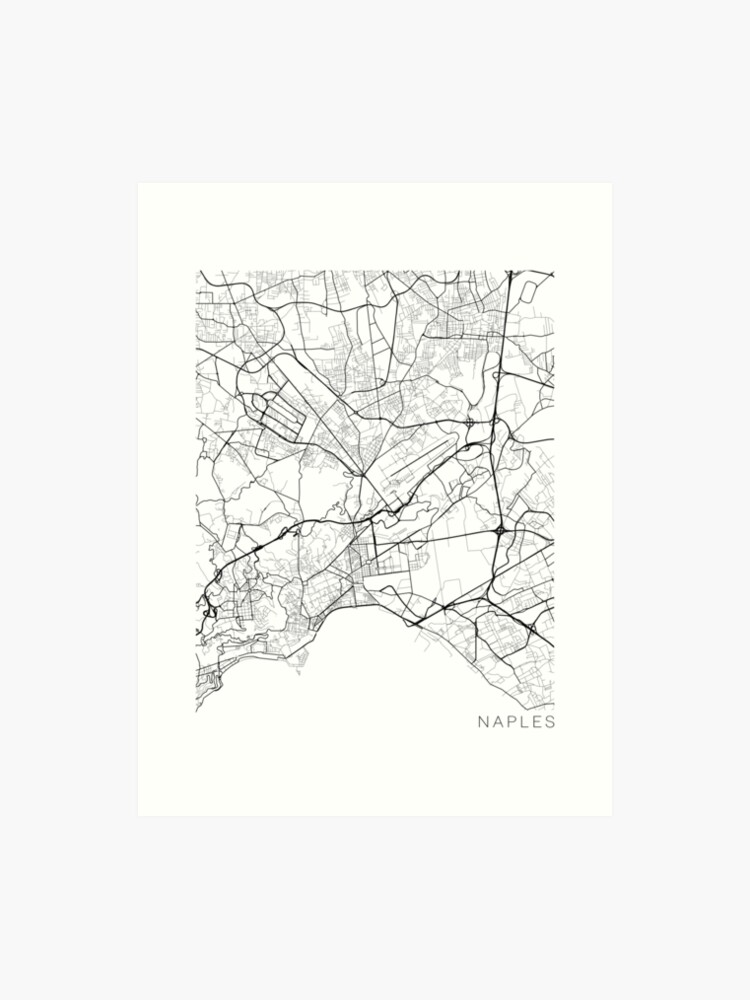 Map Of Italy Black And White.Naples Map Italy Black And White Art Print