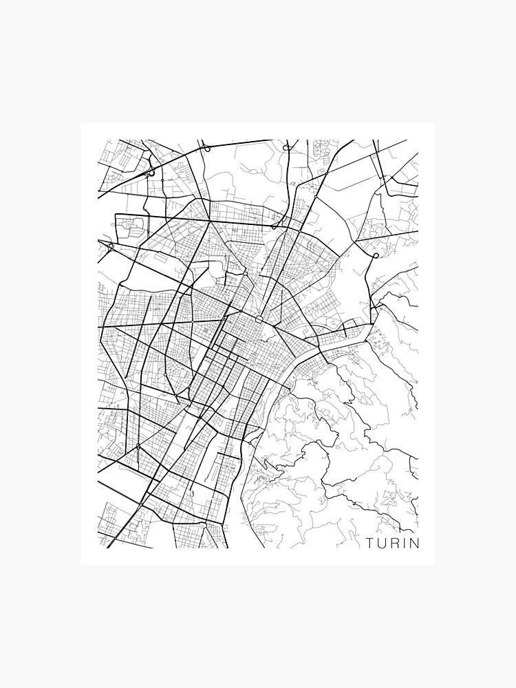 Black And White Map Of Italy.Turin Map Italy Black And White Photographic Print