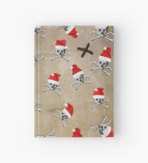 Christmas Holiday Pirate Skulls on Vintage Texture Hardcover Journal
