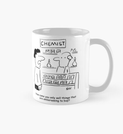 Embarrassing products in the Chemist's shop Mug